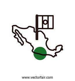 Mexican map with flag half line half color style icon vector design