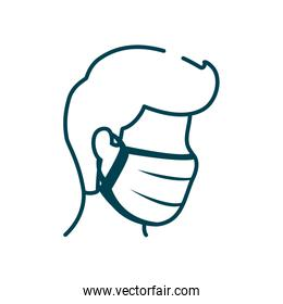 isolated man with mouth mask icon, line style