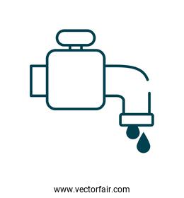 water faucet and drops icon, line style