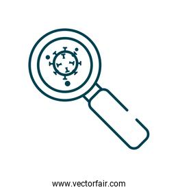 magnifying glass with covid 19 virus icon, line style