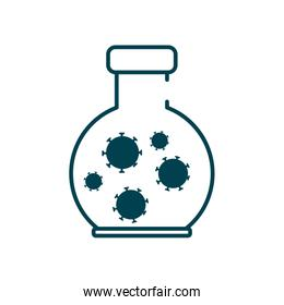 chemical flask with covid 19 virus icon, line style