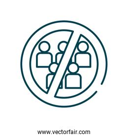 forbidden sign of crowd people icon, line style