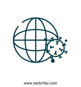 global sphere and covid 19 virus icon, line style
