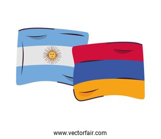argentina and armenia flags countries isolated icon