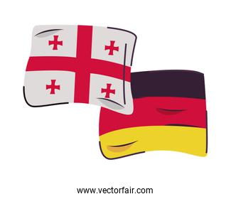 georgia and germany flags countries isolated icon