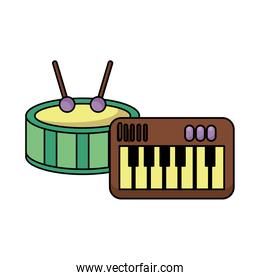 piano and drum instruments musical flat style icon