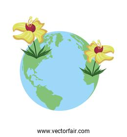world planet with exotic and tropical flowers nature icon