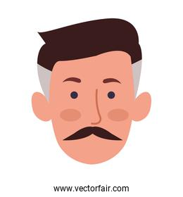 young man with mustache head character icon