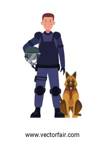 riot police with dog character
