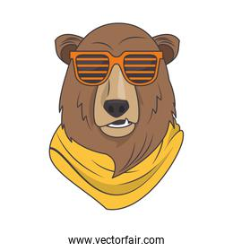 funny bear grizzly with sunglasses cool style