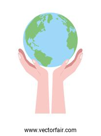 hands lifting world planet earth isolated icon
