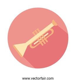 trumpet musical instrument block style icon
