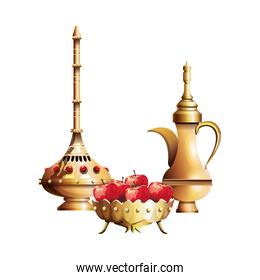 Luxury golden chalice with diamonds and apples
