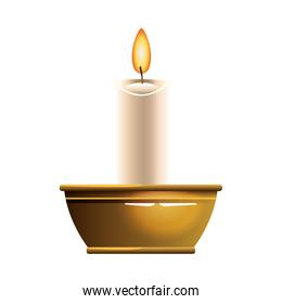 Candle in bowl cartoon isolated in black and white