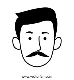 young man with mustache head character