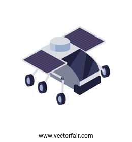 Isolated robot with solar panel fill style icon vector design