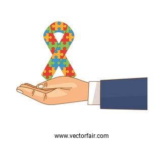 hand lifting campaign ribbon with puzzle game pieces