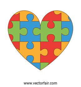 heart with puzzle game pieces