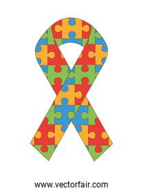 campaign ribbon with puzzle game pieces