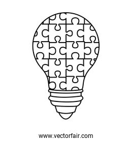bulb with puzzle game pieces