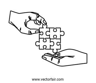 hands with puzzle game pieces isolated icon