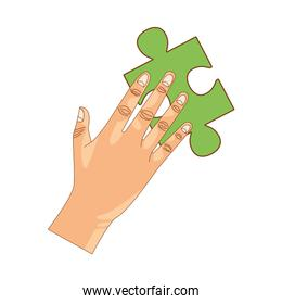 hand lifting puzzle game piece isolated icon