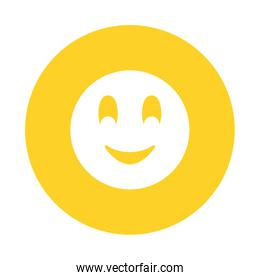 Smiling chat emoticon isolated icon