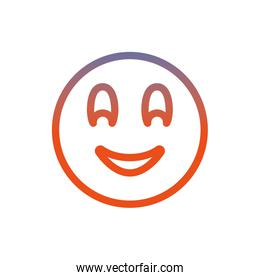 Smiling chat emoticon gradient line style icon