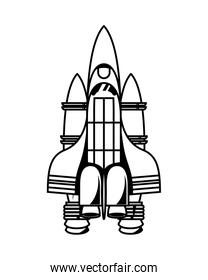 space ship flying isolated icon