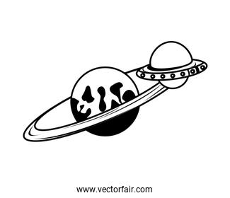 space saturrn planet isolated icon