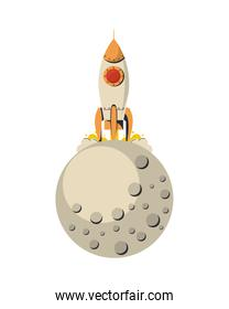 space rocket startup launcher with moon