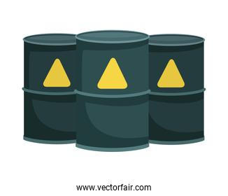 nuclear barrels metalic isolated icons