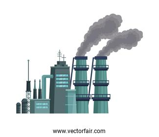 factory with polluting chimneys scene