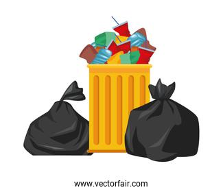 plastic garbage bag isolated icon