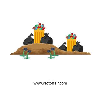 plastic garbage bags and pots scene