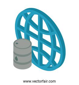 nuclear barrel metalic with sphere