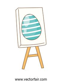 egg painted in paperboard easter decoration
