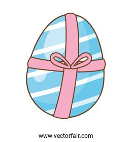 egg painted with gift ribbon easter decoration