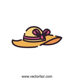 Isolated female hat fill style icon vector design
