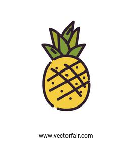 Isolated pineapple fruit fill style icon vector design