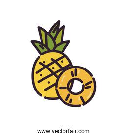 Isolated pineapples fruit fill style icon vector design