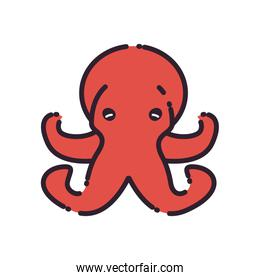 Isolated octopus fill style icon vector design