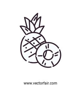 Isolated pineapples fruit line style icon vector design