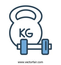 dumbbells gym accessory half line and color style icon