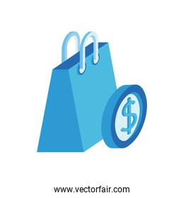 shopping bag paper with coin money isometric icon