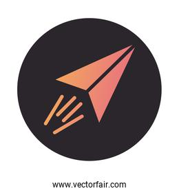 paper air plane block style icon