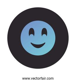 Smiling chat emoticon block style icon