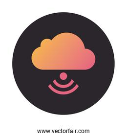 cloud computing with wifi signal block style icon