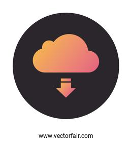 cloud computing with arrow download block style icon