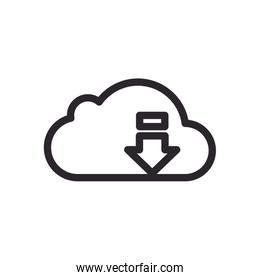 cloud computing with arrow download line style icon